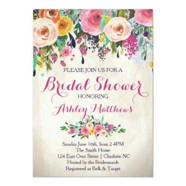 Beautiful Floral Bridal Shower Invitations, Baby Invitations