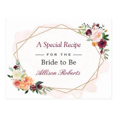 Beautiful Floral Gold Frame Bridal Shower Recipe PostInvitations