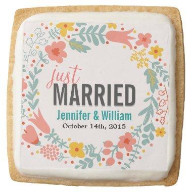 Beautiful Floral Just Married Wedding Decoration Square Shortbread Cookie