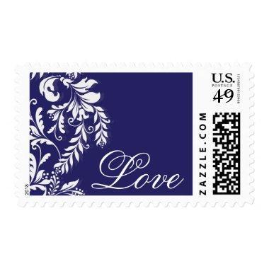 Beautiful Modern Leaf Wedding Love Postage Stamp
