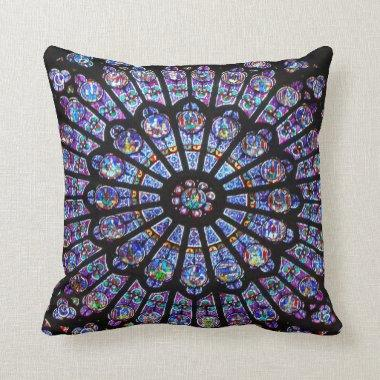 Beautiful Notre Dame Rose Window Throw Pillow