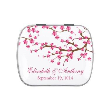 Beautiful Pink Cherry Blossom Wedding Favor Candy Jelly Belly Candy Tin