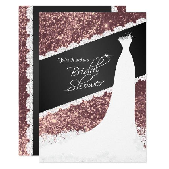 Beautiful Rose Gold Glitter Bridal Shower Invitations