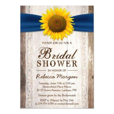 Beautiful Rustic Sunflower Ribbon Bridal Shower Invitations