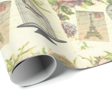 Beautiful, Shabby, Paris, Birdcage Wrapping Paper