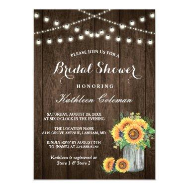 Beautiful Sunflowers Rustic Wood Bridal Shower Invitations