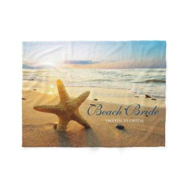 Beautiful Sunset Beach Custom Beach Bride Fleece Blanket