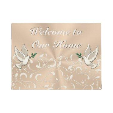 Beautiful Taupe Indoor Welcome to Our Home Mat