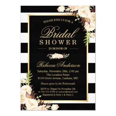 Beautiful White Ivory Flowers Winter Bridal Shower Invitations