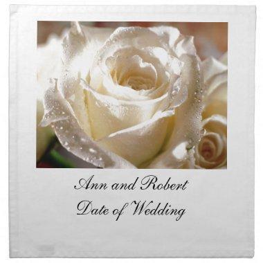 Beautiful White Rose Wedding  Napkins