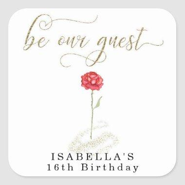 Beauty & the Beast Birthday Bridal Wedding Square Sticker