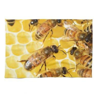 Bee Bees Hive Honey Comb Sweet Dessert Yellow Kitchen Towel