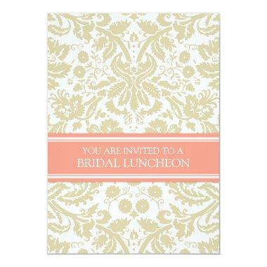 Beige Coral Damask Bridal Lunch Invitations