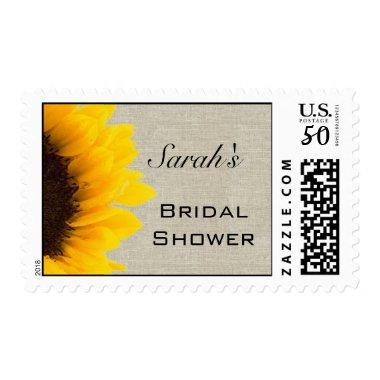 Beige Linen Yellow Sunflower  Postage