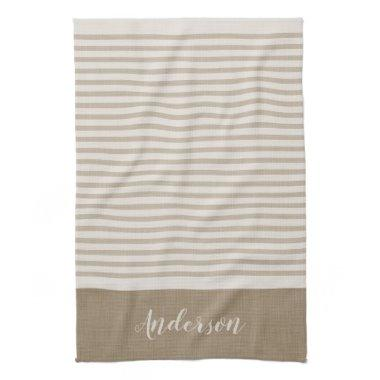 Beige Turkish Stripes Monogram | Farmhouse Towel