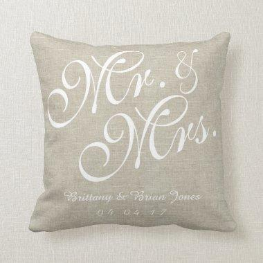 Beige White Linen Mr. and Mrs. Wedding Pillow