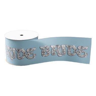 Bejeweled Bride Text on Blue Grosgrain Ribbon