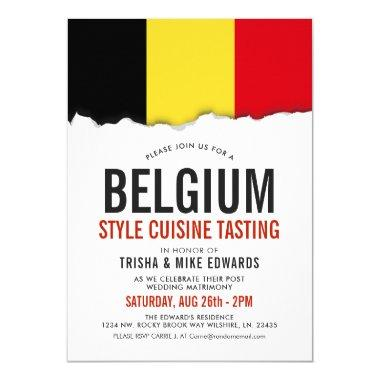 Belgium Cuisine | Party Flag White Invite