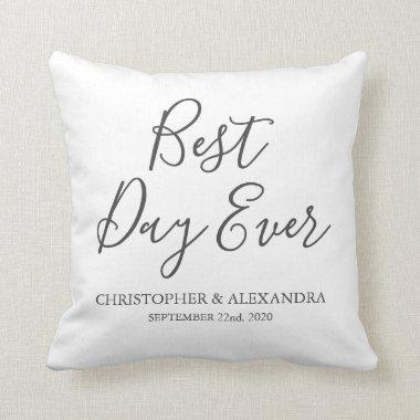 Best Day Ever Rose Cute White Wedding Throw Pillow
