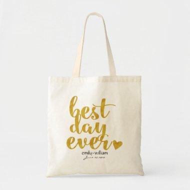 Best Day Ever|Wedding Welcome Gift/Favor|Gold Tote Bag