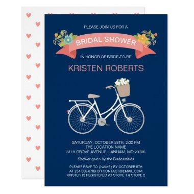 Bicycle Bridal Shower Navy Blue Coral Pink Floral Invitations
