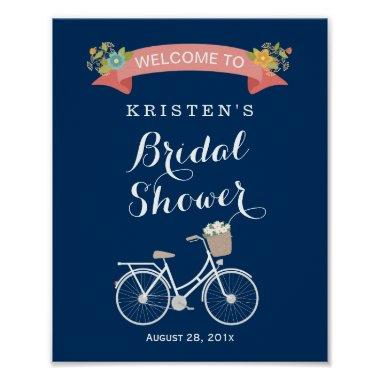 Bicycle Bridal Shower Sign Navy Blue Coral Pink Poster
