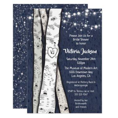 Birch Tree Evening Twinkle Lights Bridal Shower Invitations