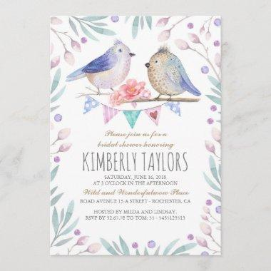 Birds and Pink Flowers Woodland Bridal Shower Invitations