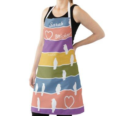 Birds on a wire w/a Romantic twist. Pastel colors Apron