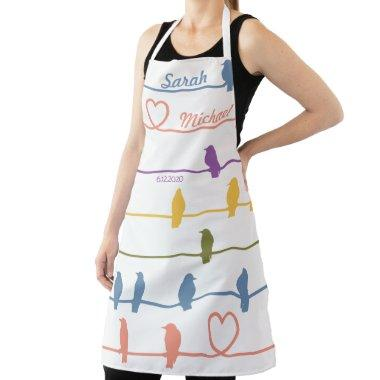Birds on a wire w/a Romantic twist. Pastel /White Apron