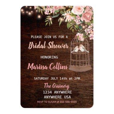 Birds Rustic Bridal shower Invitations String light