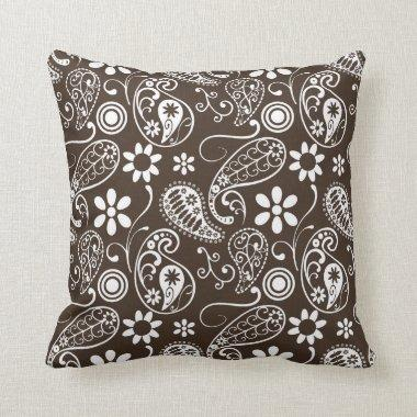 Bistre Brown Paisley Throw Pillow