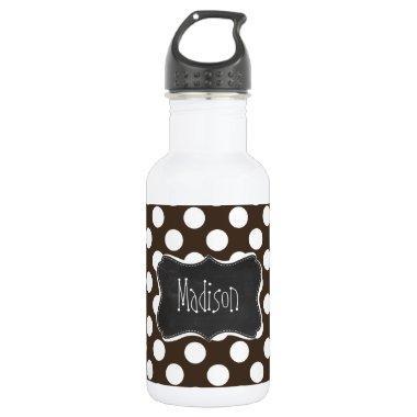 Bistre Brown Polka Dots; Retro Chalkboard Water Bottle