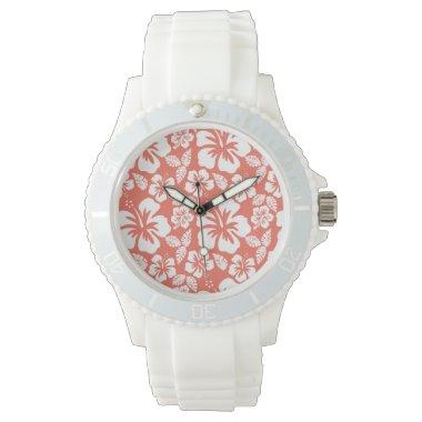 Bittersweet Color Tropical Hibiscus; Flowers Wrist Watch