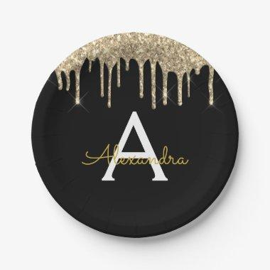 Black and Gold Glitter Monogram Birthday Paper Plate