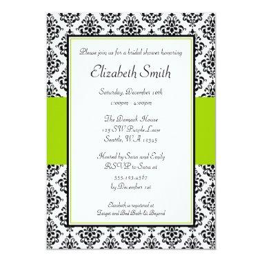 Black and Lime Green Damask