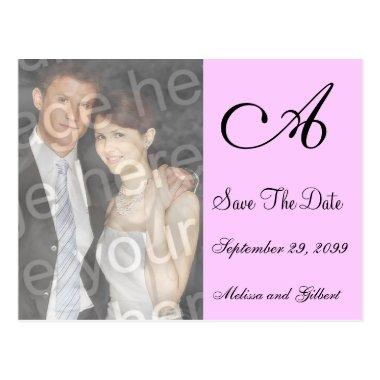 Black And Pink Monogram Save the Date Invitation Post
