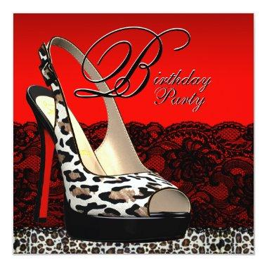 Black and Red Leopard Birthday Party Invitations