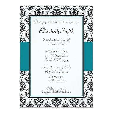 Black and Teal Damask