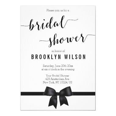Black And White Bridal Shower Invitations Bow