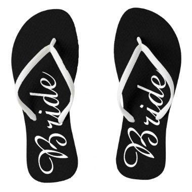 Black and White Bride Flip Flops