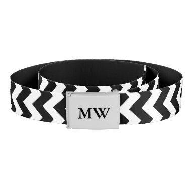 Black and white chevron pattern monogrammed belt