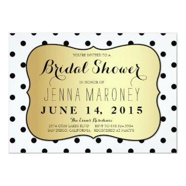 Black and White Dots w/ Gold Foil Bridal Shower Invitations