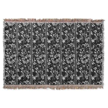 Black and White Floral Accent Wedding Throw