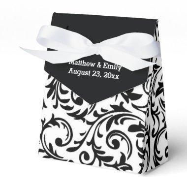 Black and White Floral Damask Wedding Favor Boxes
