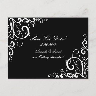 Black and White Flourish Save The Date Announcement Post