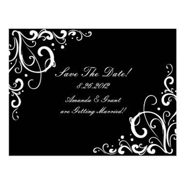 Black and White Flourish Save The Date Post