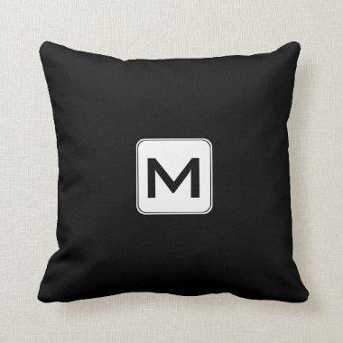 Black and White Monogram M Throw Pillows