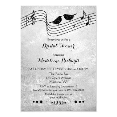 Black and White Music Themed Bridal Shower Invite