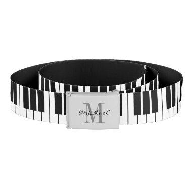 Black and white piano keys monogrammed canvas belt